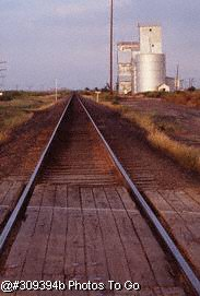 Railroad tracks near grain elevator